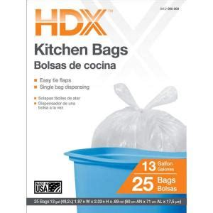 Home Depot Kitchen Garbage Bags Hdx 13 Gal Kitchen Trash Bags With Flap Tie 25 Count
