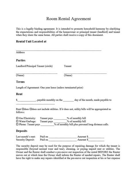 room rental lease agreement template 39 simple room rental agreement templates template archive