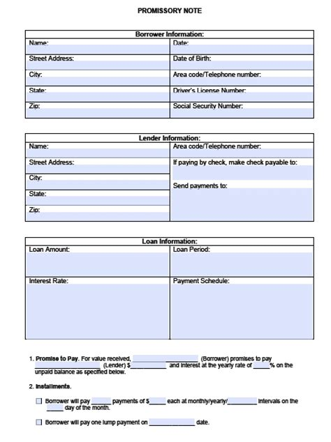 promissory notes template blank promissory note template pdf rtf word wikidownload