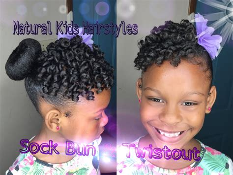 sock bun with natural black hair kids natural hairstyle sock bun defined twistout with