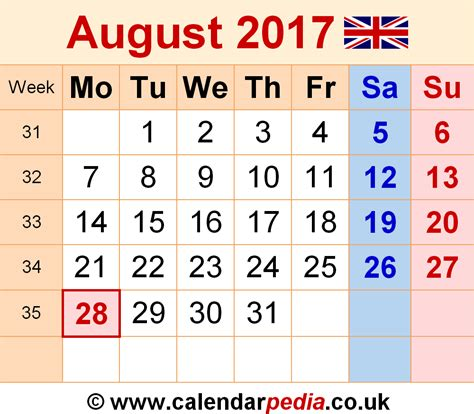Calendar 2017 August Uk August 2017 Calendar Uk Printable Template With Holidays