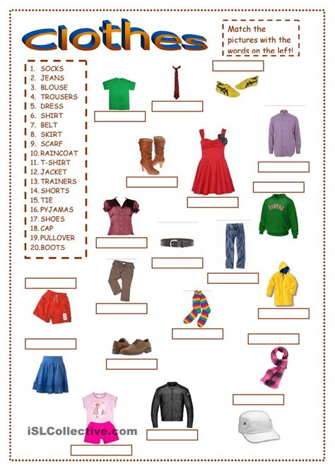 clothes matching worksheets clothes ex1 clothes gor pinterest clothes english