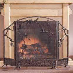 fireplace screen rustic pine cone branches aluminum cast iron fireplace