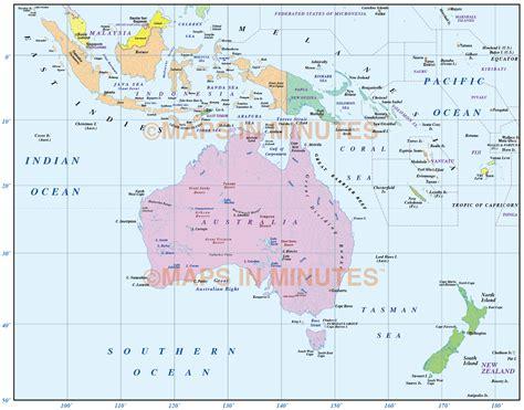 map of australasia digital vector australasia region country simple map