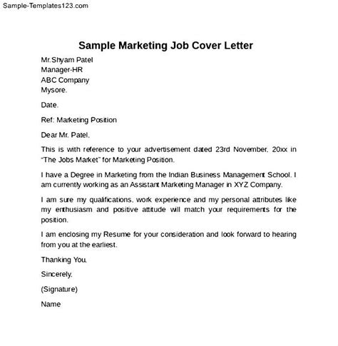 exle marketing cover letter sle marketing cover letter sle templates