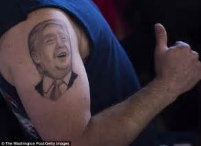 arm tattoo cost uk donald trump s face is tattooed on ohio man s arm and he