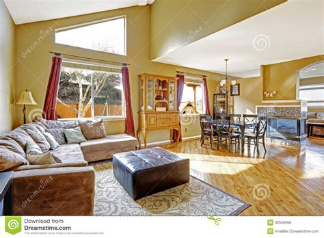 house interior bright living room with dining area and