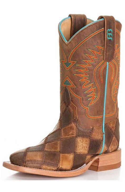 Bean Patchwork Boots - bean kid s patchwork cowboy boots brown