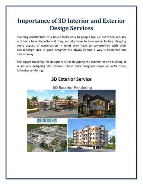 facilities layout ppt render ppt importance of 3d interior and exterior design
