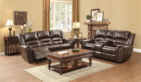 Homelegance Center Hill Reclining Sofa Set Dark Brown Brown Leather Reclining Sofa And Loveseat