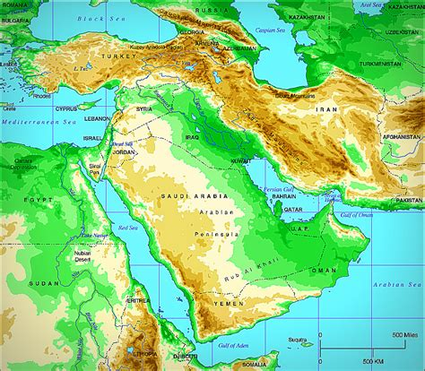 middle east map geographical is in the middle east