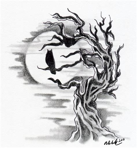 owl tree tattoo designs owl silhouette with tree by littledarkchild on deviantart