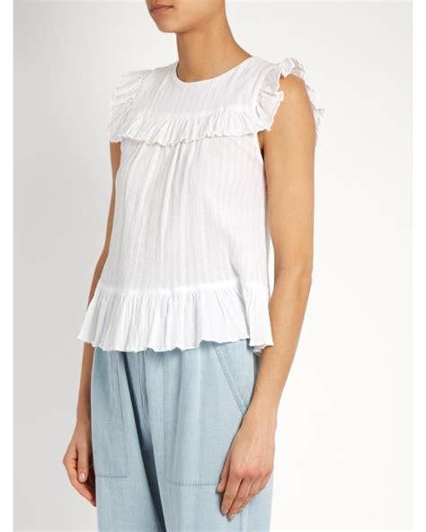 Phelfish Ruffled Cotton Top Anak masscob sleeveless ruffle trimmed cotton top in white lyst