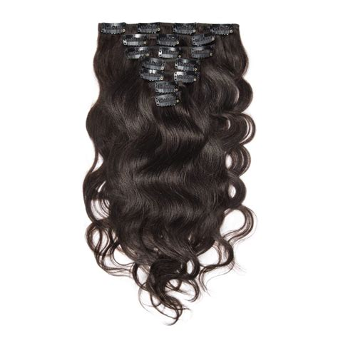 usa clearance sales clip in hair extensions 3 4 darkest brown wavy clip in remy hair extensions