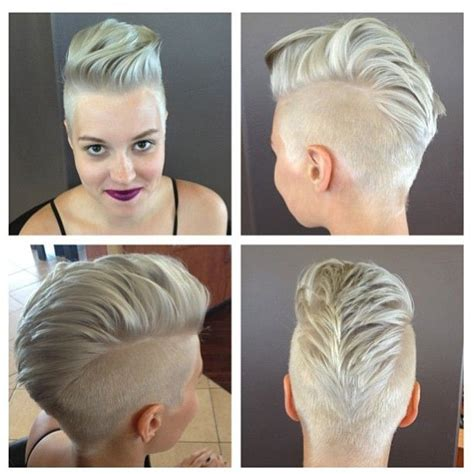 quick and easy edgy hairstyles platinum silver hair pompadour mohawk girlhawk rocker