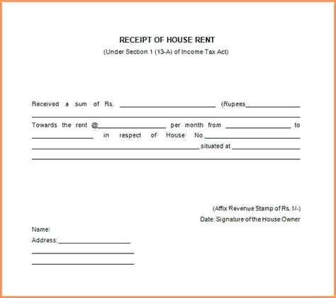 house rent receipt form income tax act format of rental