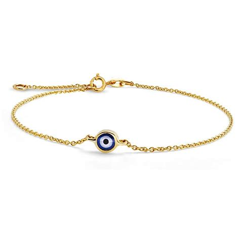 Yellow 14k Gold Evil Eye Adjustable Bracelet 6.5 Inch