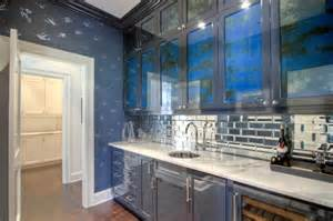 mirrored tile backsplash butler pantry with mirrored subway tiles contemporary