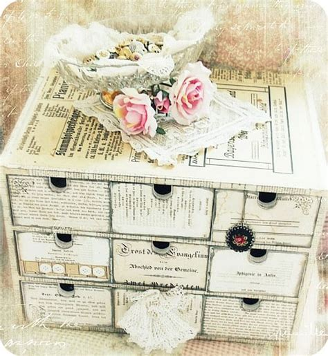 ikea shabby chic ikea wood storage chest covered in vintage paper and shabby chic ed simply decor ideas