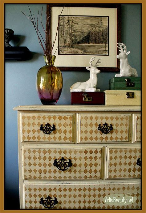 garage sale harlequin dresser makeover hometalk