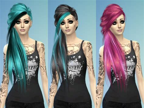 emo hairstyles sims 4 maruchanbe s recolor scene emo side hair mesh needed