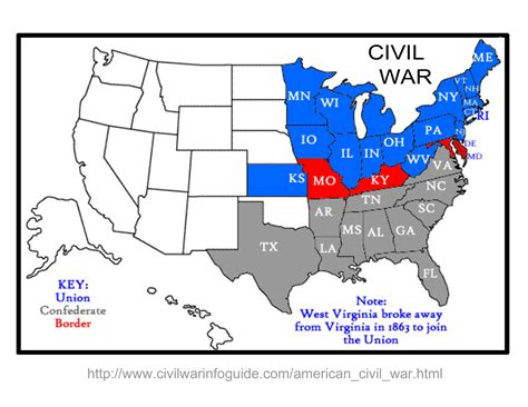 map of us states civil war learn some history