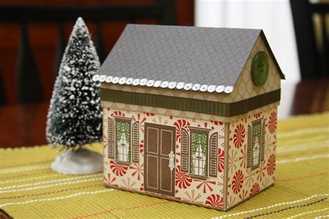 Handmade Christmas Paper House Gift Box with Peppermint Swirls