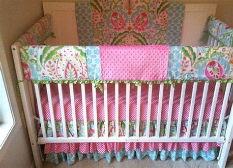Aqua And Pink Crib Bedding Bumperless Pink And Aqua Crib Bedding Www Butterbeansboutique Etsy Baby Pinterest Crib