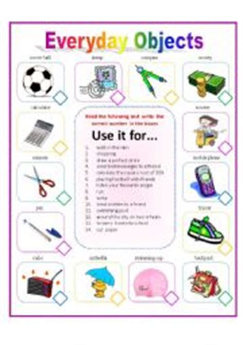everyday use worksheet worksheets everyday objects