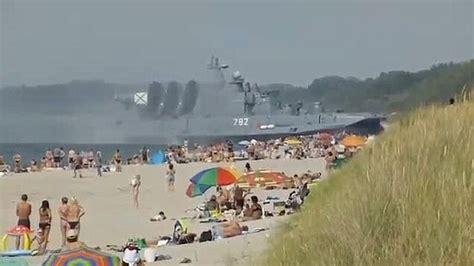 russian beach bizarre moment 550 ton russian hovercraft stuns sun