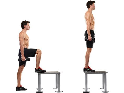 exercises using a step bench bw bodyweight box step ups l r red medium workouts