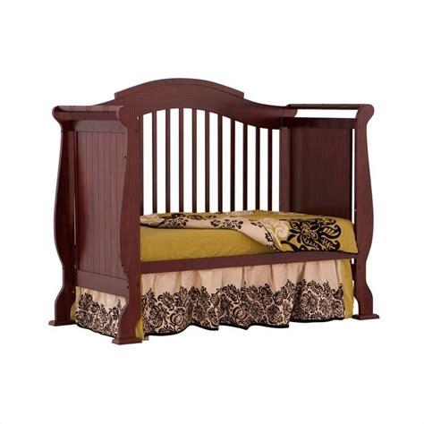 Cherry Convertible Crib 4 In 1 Fixed Side Convertible Crib In Cherry 04587 254