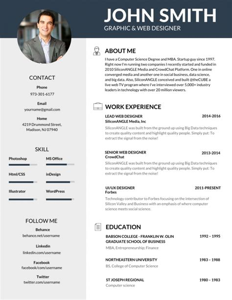 Photo Resume Template by 50 Most Professional Editable Resume Templates For Jobseekers