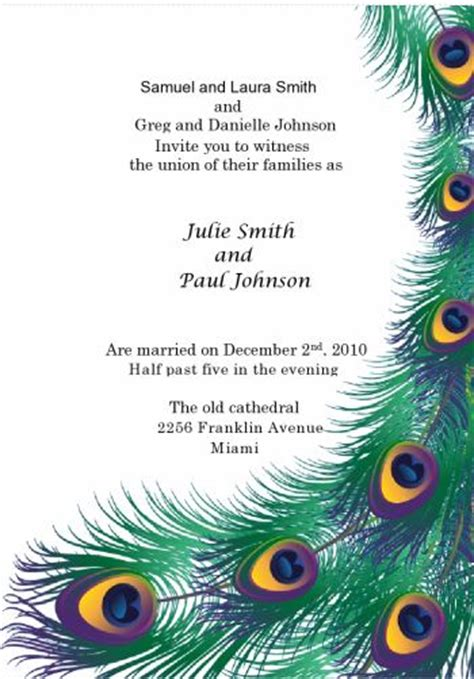 peacock wedding invitations template peacock wedding invitation kit print your own wedding