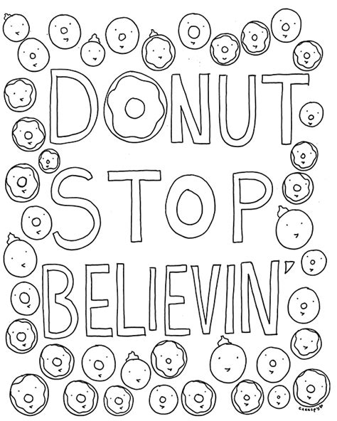 coloring page of a donut free coloring book page for grown ups donut stop believin