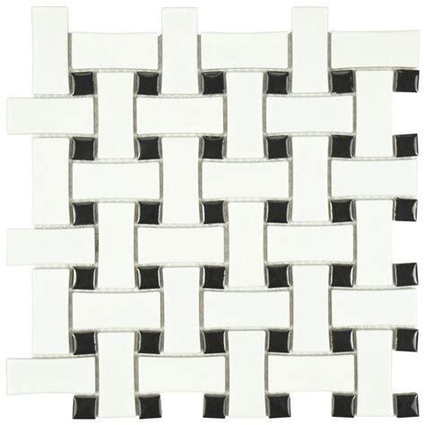 merola tile metro basket weave matte white and black 10 1