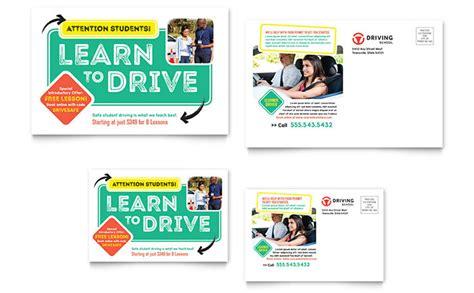 Driving School Postcard Template Design School Postcard Template