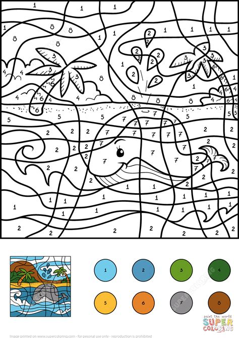 color by numbers whale color by number free printable coloring pages