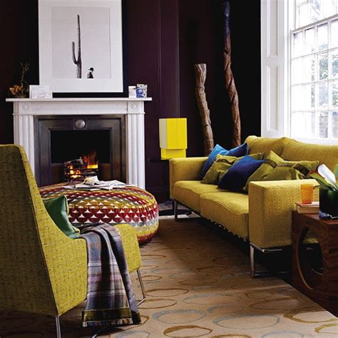 mustard living room ideas living room with brown walls and bright furniture housetohome co uk