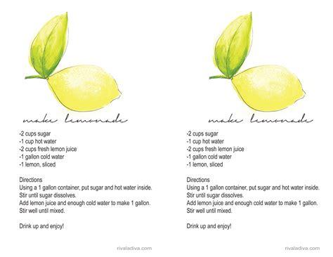 printable lemonade recipes bad day gift idea riva la diva