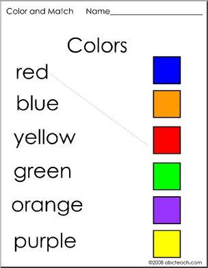 match the color prek early childhood color words coloring pages page 1