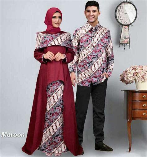 Kebaya Batik Muslim Toska Model Terbaru Batik Pasangan Modern baju gamis pasangan batik lebaran sabna gamis terbaru