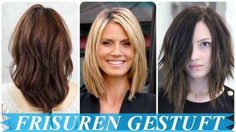 schoene frisuren schulterlang gestuft youtube