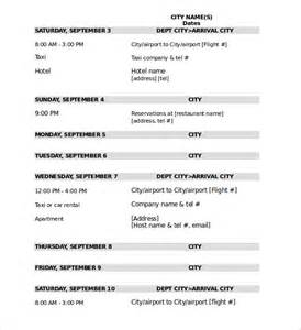 travel itinerary template 40 travel itinerary templates free sle exle