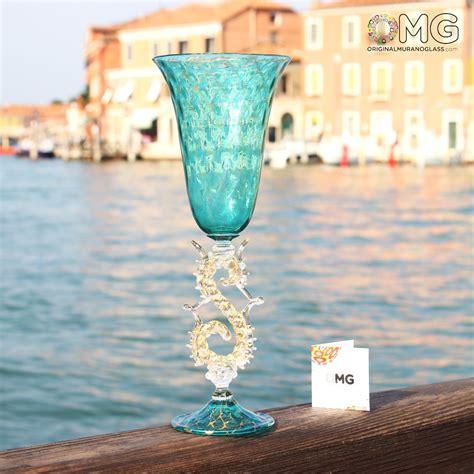 Venetian Goblet Stem Aquamarine Teal Murano Gl
