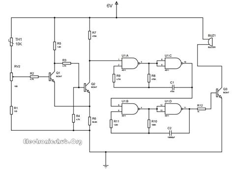 thermistor temperature sensor circuit sensing alarm circuits