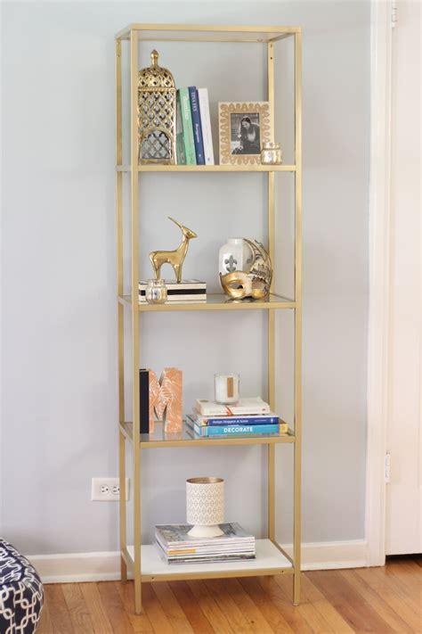 white and gold bookcase painted ikea vittsjo bookcase diy ikea