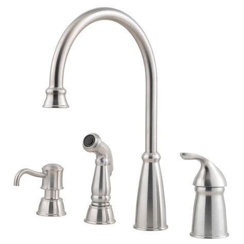 Pfister Avalon Kitchen Faucet Pfister F 026 4cbs Stainless Steel Avalon Kitchen Faucet With Sidespray And Soap Dispenser
