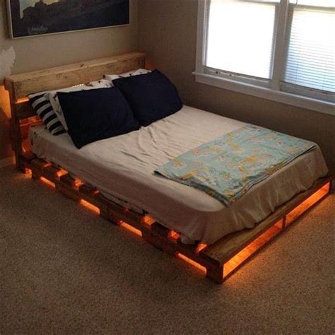 wood pallet bed frame with lights how to join wood at 45 degree angle wooden pallet bed