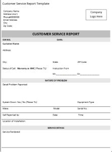 excel customer service report template